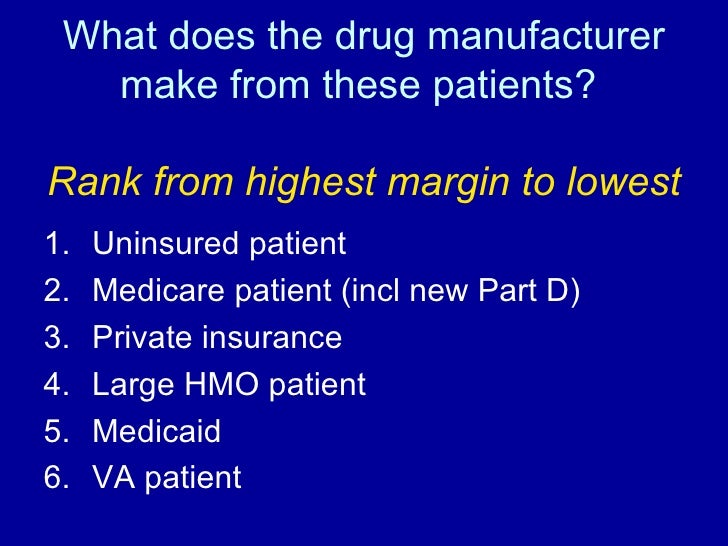 What does the drug manufacturer make from these patients?  Rank from highest margin to lowest <ul><li>Uninsured patient </...