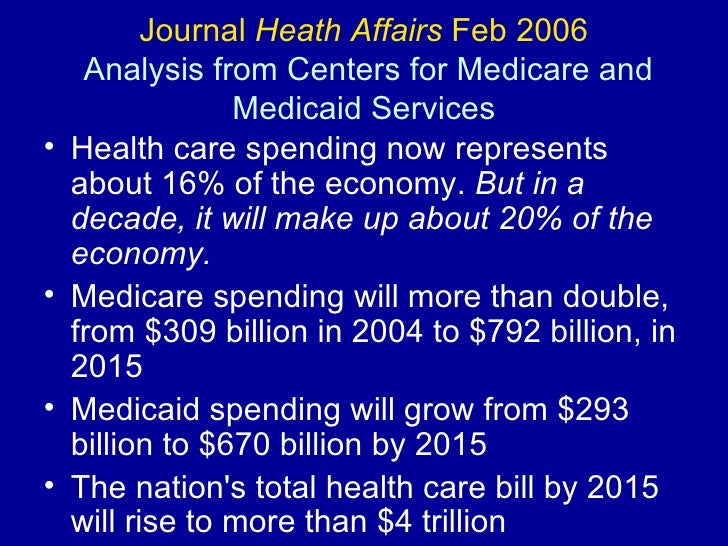 Journal  Heath Affairs  Feb 2006  Analysis from Centers for Medicare and Medicaid Services <ul><li>Health care spending no...