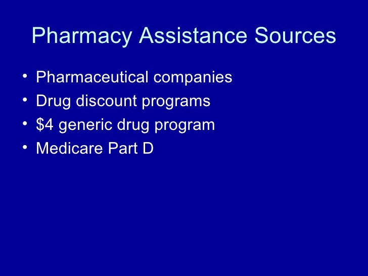 Pharmacy Assistance Sources <ul><li>Pharmaceutical companies </li></ul><ul><li>Drug discount programs </li></ul><ul><li>$4...