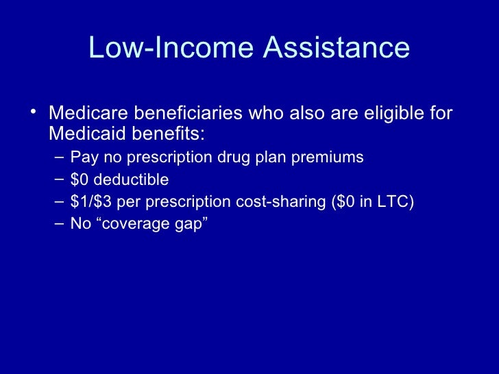 Low-Income Assistance <ul><li>Medicare beneficiaries who also are eligible for Medicaid benefits: </li></ul><ul><ul><li>Pa...