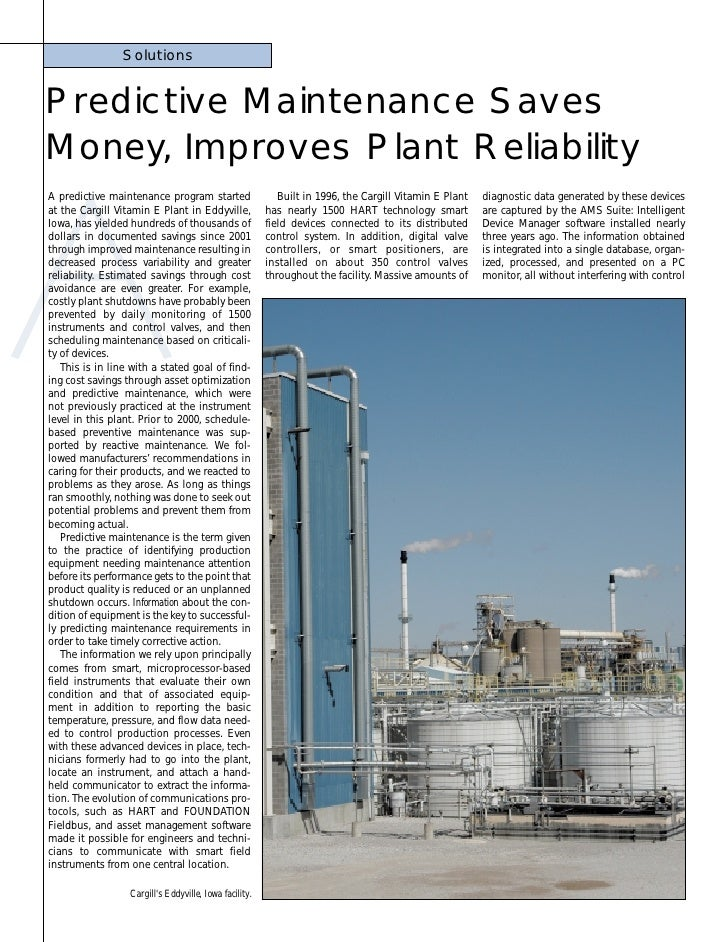SolutionsPredictive Maintenance SavesMoney Improves Plant Reliability      ,A predictive maintenance program started      ...