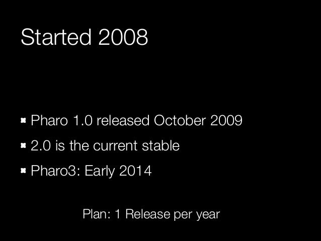 Started 2008  Pharo 1.0 released October 2009 2.0 is the current stable Pharo3: Early 2014 Plan: 1 Release per year