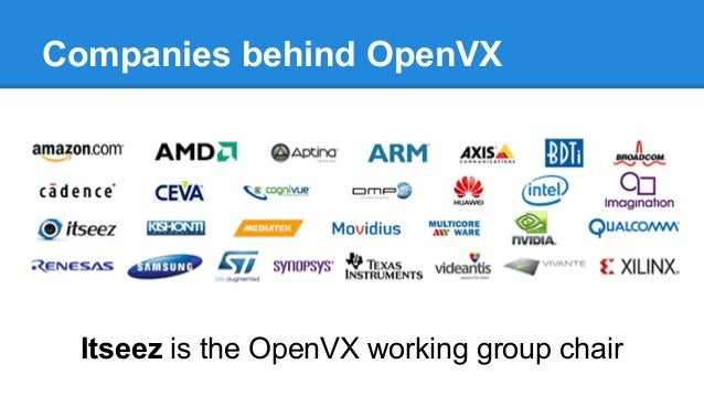 Companies behind OpenVX Itseez is the OpenVX working group chair