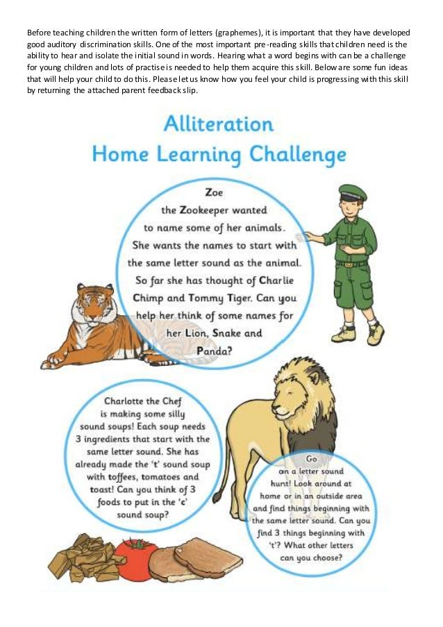 Phase 1 alliteration home learning before teaching children the written form of letters graphemes it is important that altavistaventures Choice Image