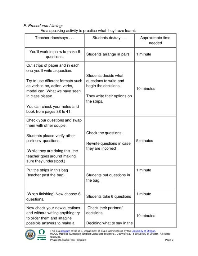 Phase 2 Lesson Plan Template Paths To Success In English Language Teaching.