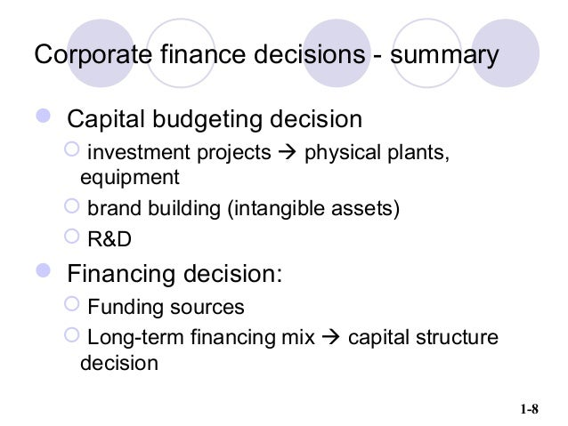 1 8 Corporate Finance Decisions