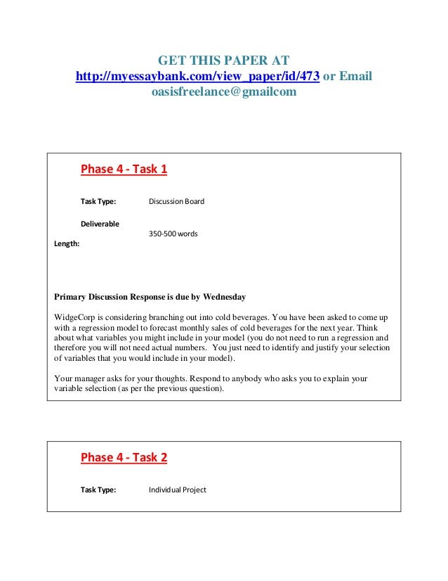 GET THIS PAPER AT http://myessaybank.com/view_paper/id/473 or Email oasisfreelance@gmailcom Phase 4 - Task 1 Task Type: Di...