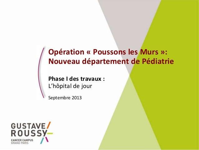 Opération « Poussons les Murs »: Nouveau département de Pédiatrie Phase I des travaux : L'hôpital de jour Septembre 2013