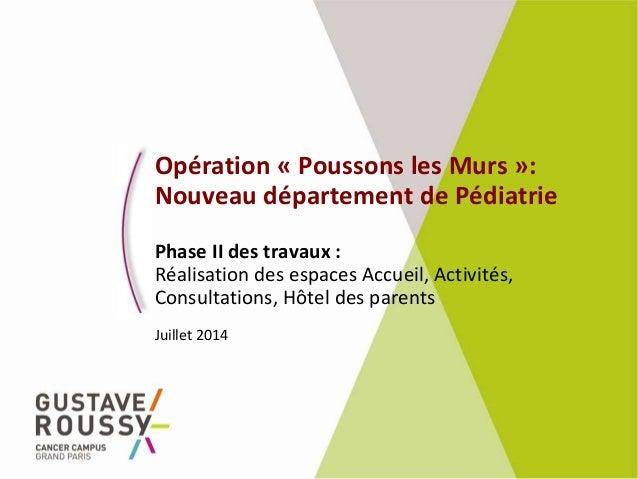 Opération « Poussons les Murs »: Nouveau département de Pédiatrie Phase II des travaux : Réalisation des espaces Accueil, ...