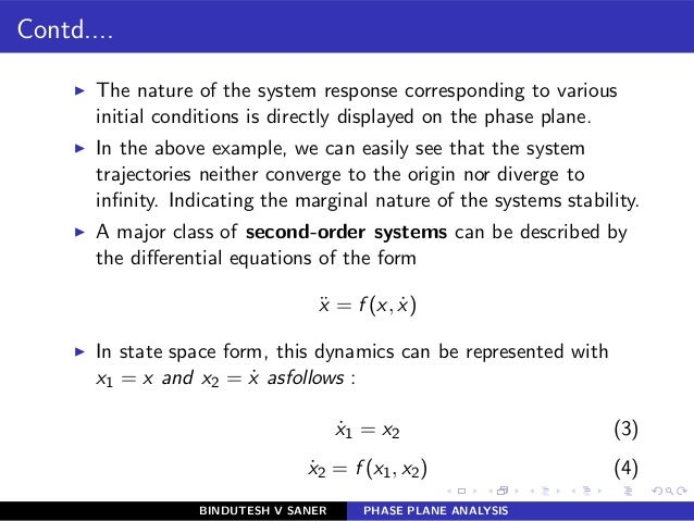 Contd.... ◮ The nature of the system response corresponding to various initial conditions is directly displayed on the pha...