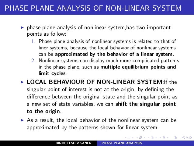 PHASE PLANE ANALYSIS OF NON-LINEAR SYSTEM ◮ phase plane analysis of nonlinear system,has two important points as follow: 1...