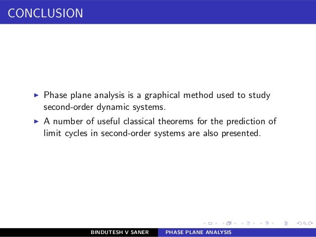 CONCLUSION ◮ Phase plane analysis is a graphical method used to study second-order dynamic systems. ◮ A number of useful c...
