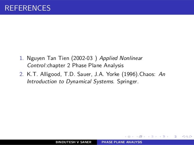 REFERENCES 1. Nguyen Tan Tien (2002-03 ) Applied Nonlinear Control:chapter 2 Phase Plane Analysis 2. K.T. Alligood, T.D. S...