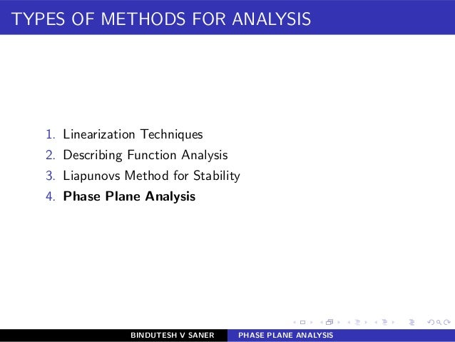 TYPES OF METHODS FOR ANALYSIS 1. Linearization Techniques 2. Describing Function Analysis 3. Liapunovs Method for Stabilit...