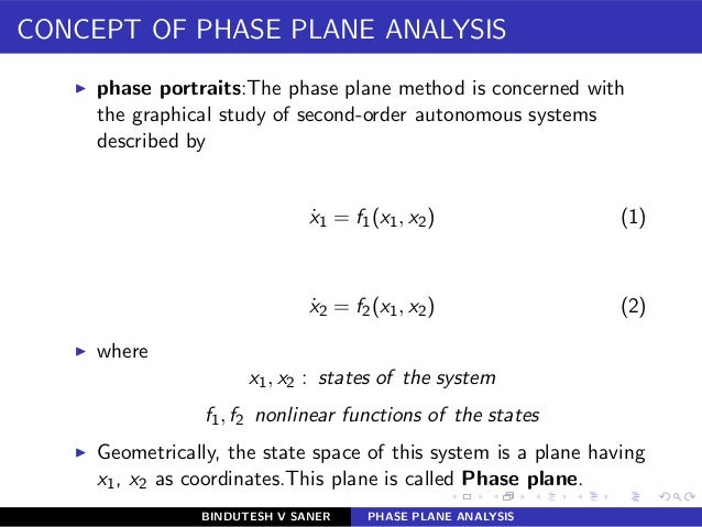 CONCEPT OF PHASE PLANE ANALYSIS ◮ phase portraits:The phase plane method is concerned with the graphical study of second-o...