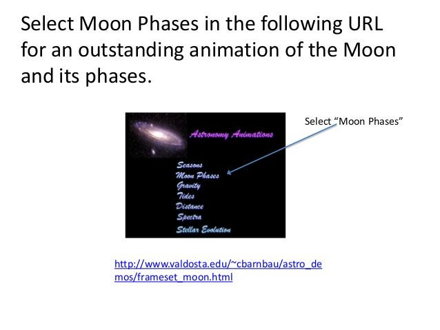 Select Moon Phases in the following URLfor an outstanding animation of the Moonand its phases.                            ...