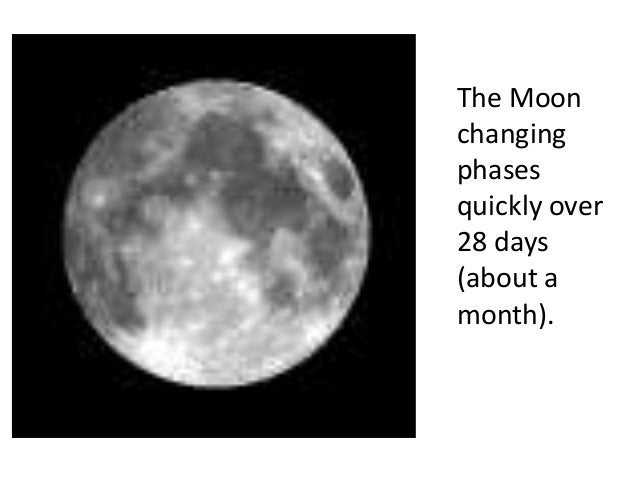 The Moonchangingphasesquickly over28 days(about amonth).