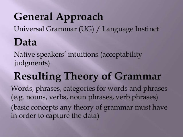 1) Every word belongs to a lexical category2) Lexical categories forms heads of phrases3) How phrases are formed is govern...