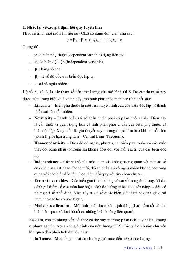 v i e t l o d . c o m 1 | 18 1. Nhắc lại về các giả định hồi quy tuyến tính Phương trình một mô hình hồi quy OLS có dạng đ...