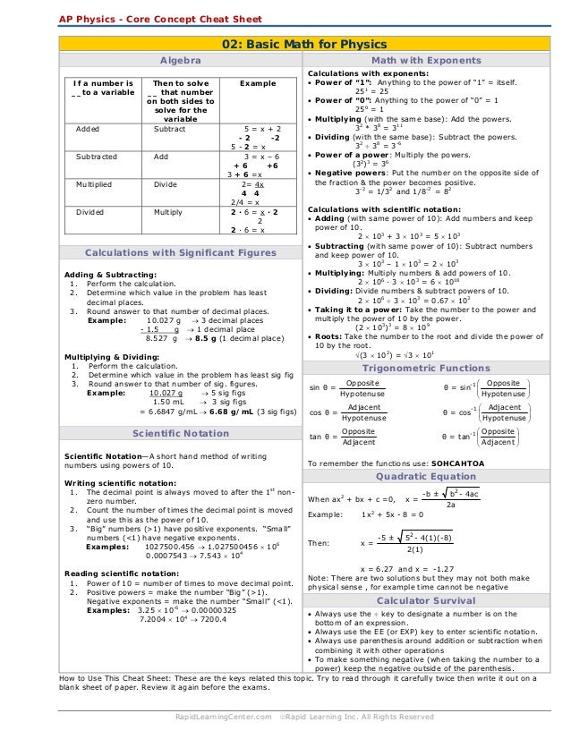 Physics 1e03 formula sheet 1 | Coursework Help