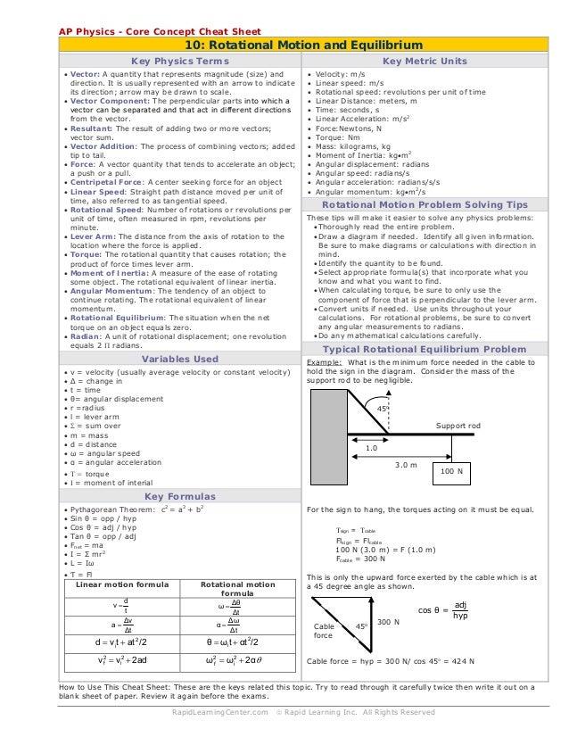 Rotational Motion & Equilibrium cheat sheet