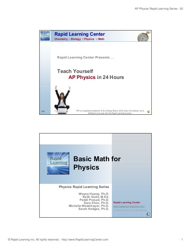AP Physics Rapid Learning Series - 02 © Rapid Learning Inc. All rights reserved. - http://www.RapidLearningCenter.com 1 Ra...