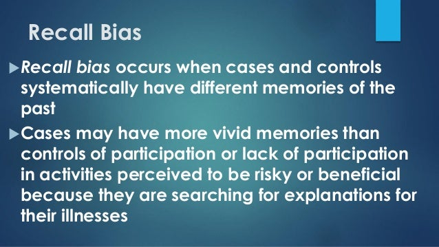 Bias in case control study ppt