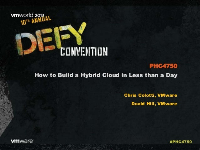 How to Build a Hybrid Cloud in Less than a Day Chris Colotti, VMware David Hill, VMware PHC4750 #PHC4750