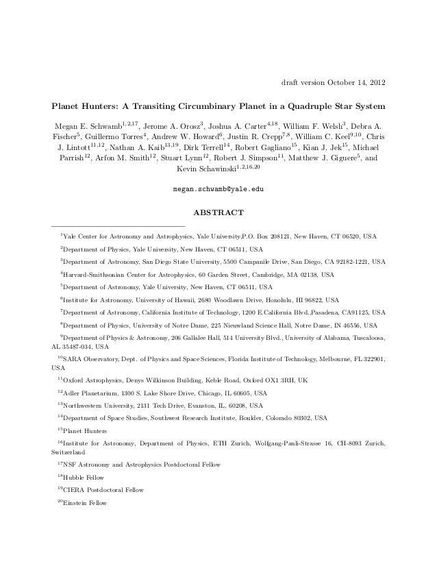 draft version October 14, 2012Planet Hunters: A Transiting Circumbinary Planet in a Quadruple Star SystemMegan E. Schwamb1...