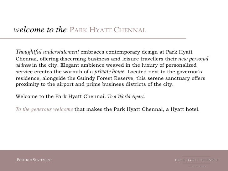 Hotel positioning statement