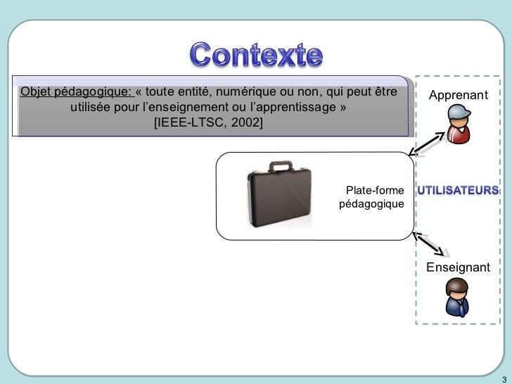 Le cycle de vie de l'objet pédagogique et de ses métadonnées - PhD presentation 2008 Slide 3