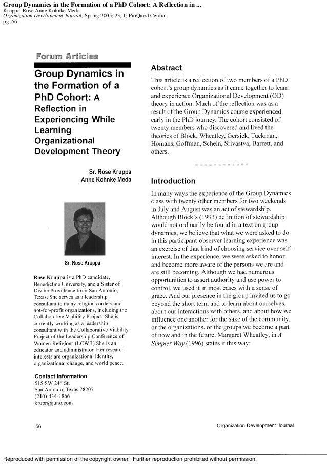 Group Dynamics in the Formation of a PhD Cohort: A Reflection in ... Kruppa, Rose;Anne Kohnke Meda Organization Developmen...