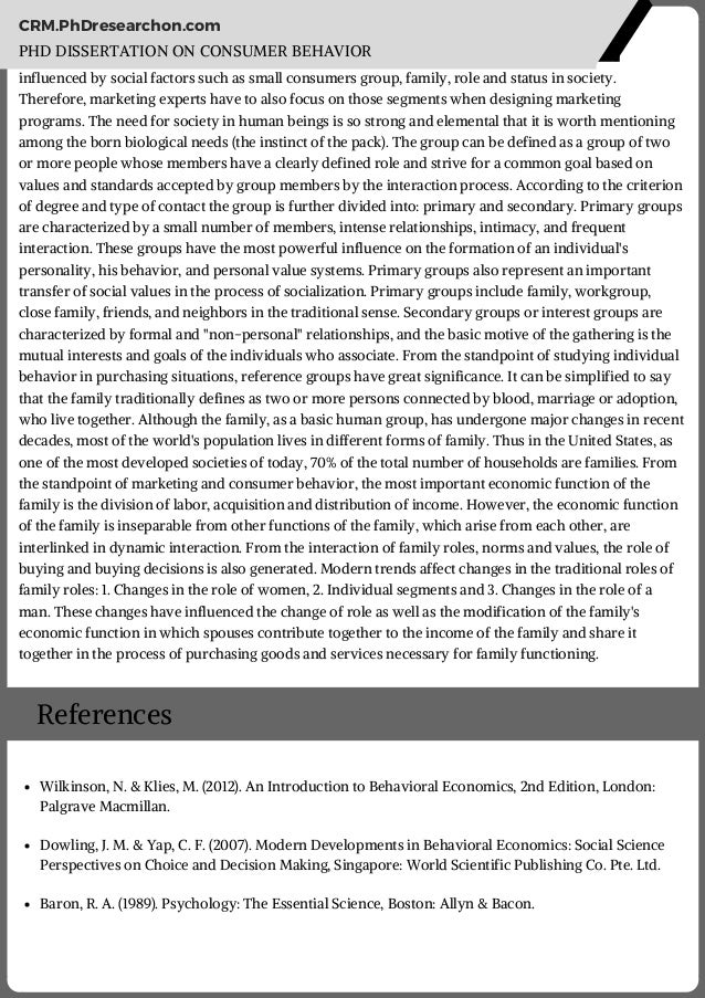 Phd thesis for consumer behaviour in rural marketing