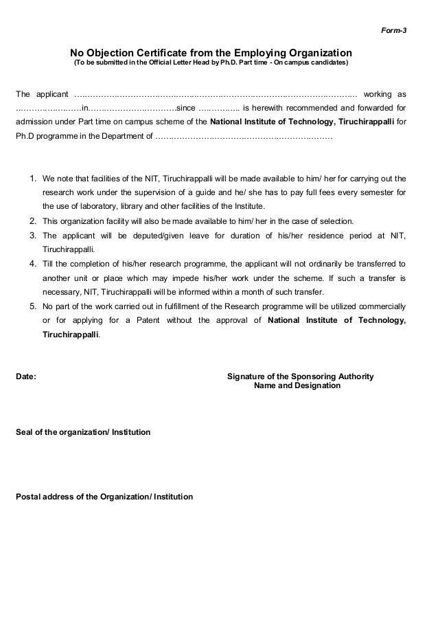 Format Of No Objection Certificate For Passport Resume Templates – No Objection Letter Sample for Job