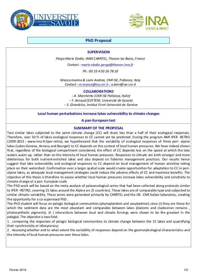 Février 2014 1/2 PhD  Proposal   SUPERVISION   Perga  Marie  Elodie,  INRA  CARRTEL,  Thonon  les  Bai...