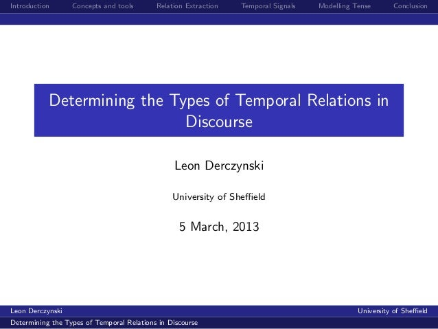 Introduction Concepts and tools Relation Extraction Temporal Signals Modelling Tense Conclusion Determining the Types of T...