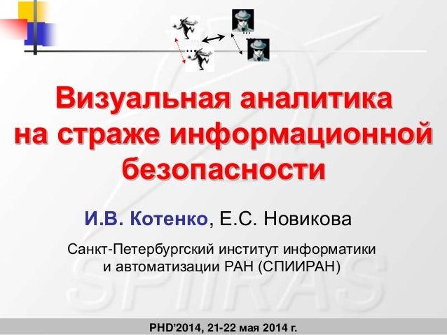 PHD'2014, 21-22 мая 2014 г. Визуальная аналитика на страже информационной безопасности И.В. Котенко, Е.С. Новикова … … … …...