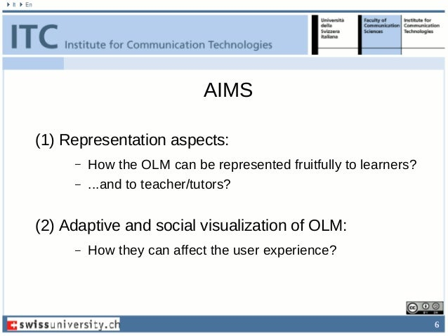6 AIMS (1) Representation aspects: – How the OLM can be represented fruitfully to learners? – ...and to teacher/tutors? (2...
