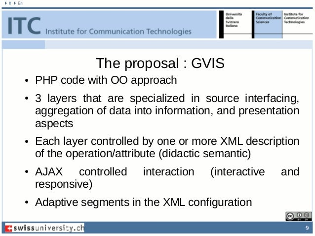 9 The proposal : GVIS ● PHP code with OO approach ● 3 layers that are specialized in source interfacing, aggregation of da...