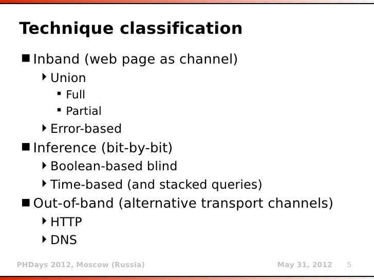 out of band oob techniques   example php mysql technique classification inband web page as channel union  full  partial