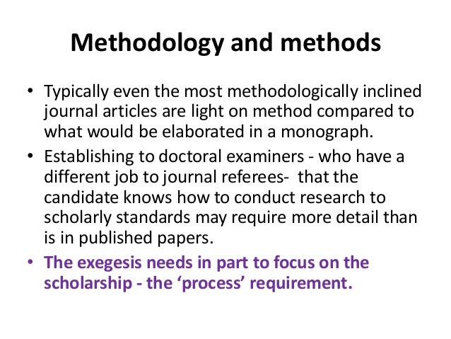 Methodology and methods • Typically even the most methodologically inclined journal articles are light on method compared ...