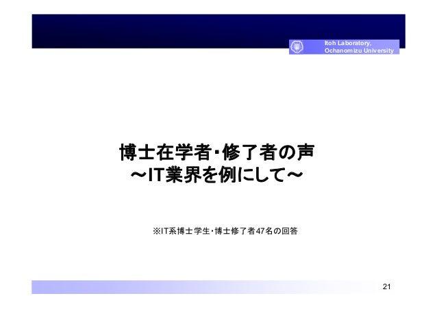 博士在学者・修了者の声 ~IT業界を例にして~ 21 Itoh Laboratory, Ochanomizu University ※IT系博士学生・博士修了者47名の回答