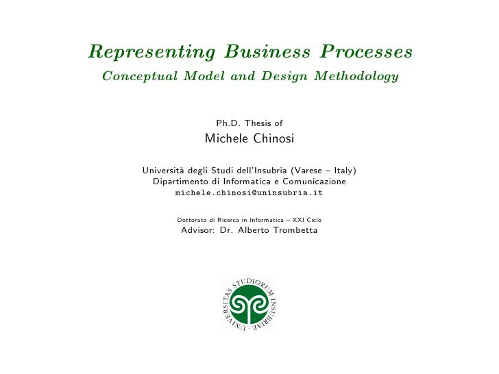 Representing Business Processes  Conceptual Model and Design Methodology                             Ph.D. Thesis of      ...