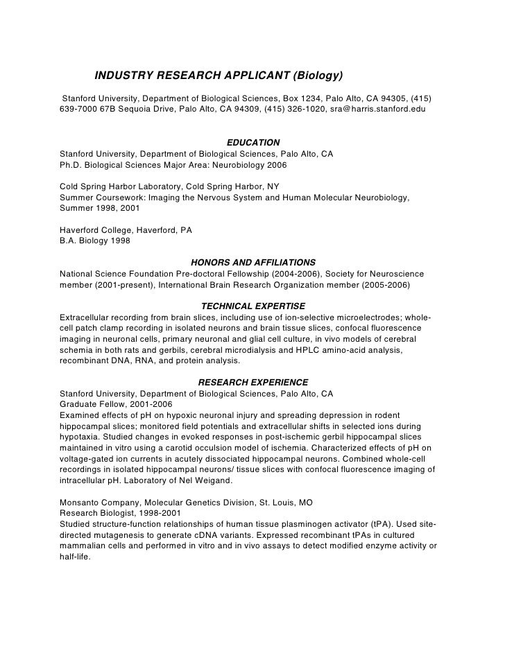 INDUSTRY RESEARCH APPLICANT (Biology)Stanford University, Department Of  Biological Sciences, ...  Biology Resume Examples