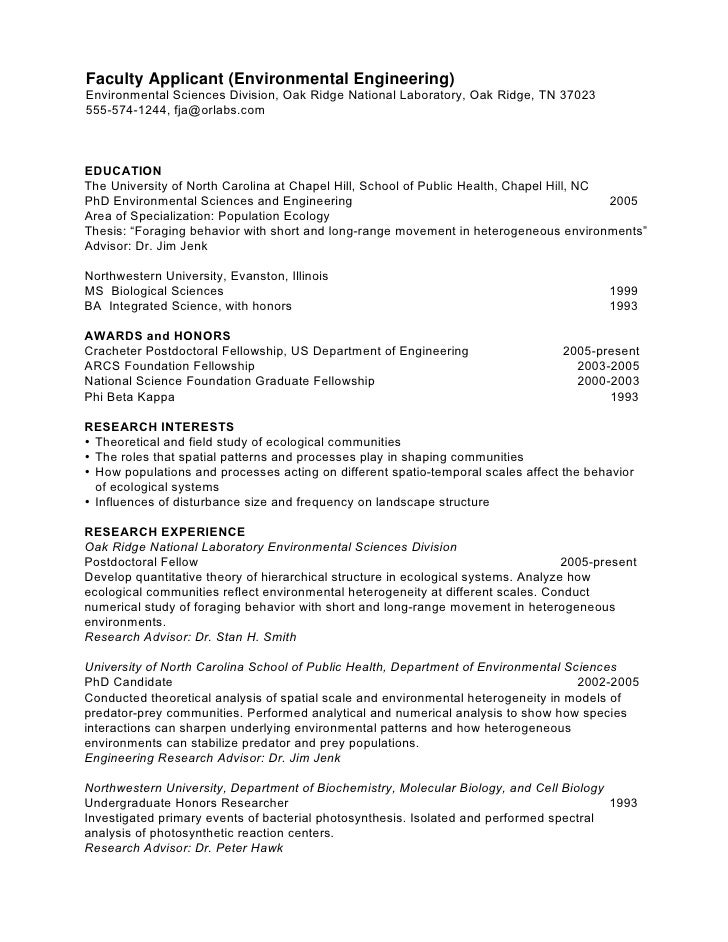 PhD CV: Ecology Faculty