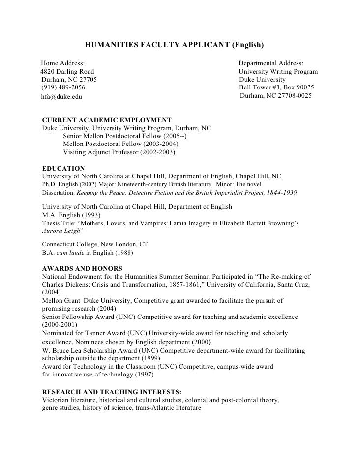PhD CV: English Faculty