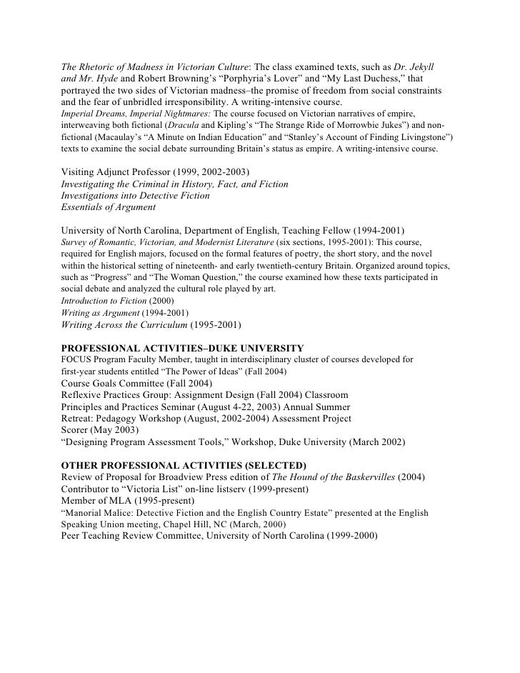 English Professor Cv - A Good Resume Example •