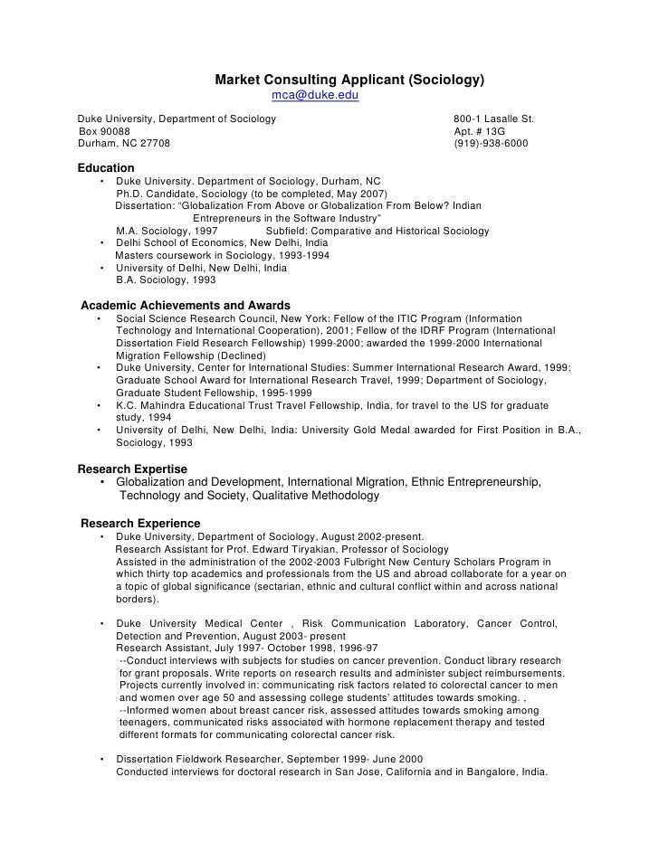 Phd cv market consulting for Sample resume for master degree application