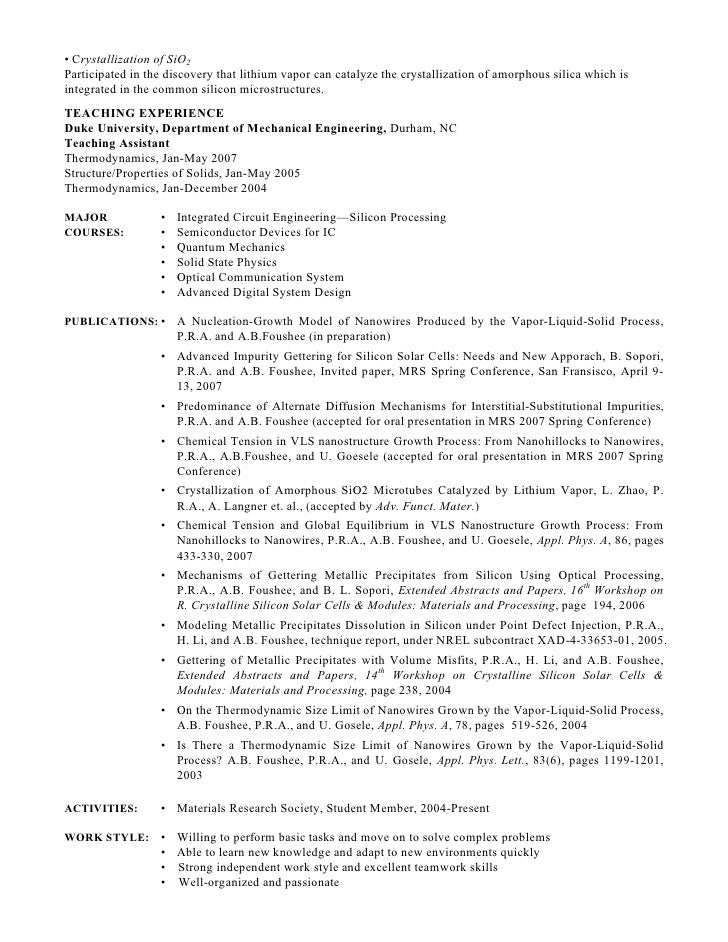 Resume for phd position