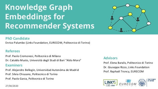 Knowledge Graph Embeddings for Recommender Systems PhD Candidate Enrico Palumbo (Links Foundation, EURECOM, Politecnico di...